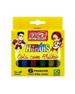 Cola Colorida com Glitter 6 Cores 25g Radex