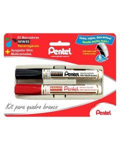 Pincel p/ Quadro Branco Preto e Vermelho com Apagador Pentel